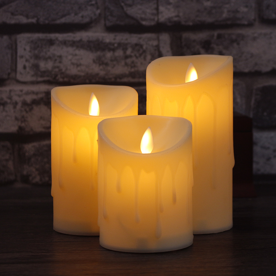 3pcs/Set Flameless LED Candle Lamp Swing Flame Yellow LED Candle Operated Night Lights Wedding Party Home Decoration