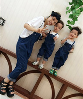 Family Matching Mother Daughter Son Jumpsuits Women Denim Overalls Family Look Outfits Mom Kids Clothes Girls