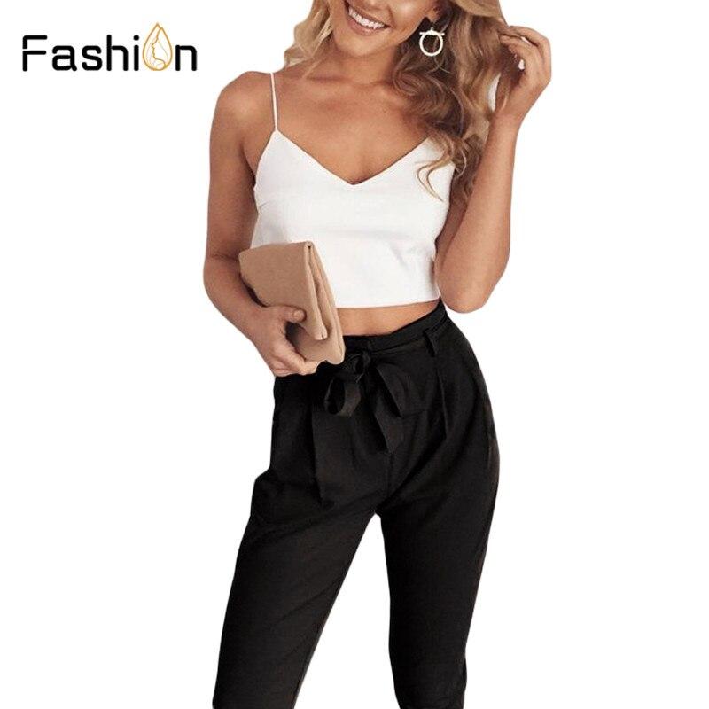 fccbef97c 2018 mujeres de dos piezas trajes pantalones largos y cultivos Tops señora  OL v cuello Spaghetti Tops mujer Tracksuits trajes de verano más tamaño ...