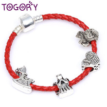cd9b37e14 TOGORY Dropshipping Silver Color Cartoon Mickey Charm Bracelet Leather  Chain Strand Pandora Bracelets For Women Jewelry Making