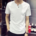 Male short-sleeve T-shirt  solid color cotton solid color V-neck clothes slim men's clothing basic white t shirt