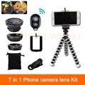 7in1 Telefone Kit de Lentes olho de Peixe Grande Angular Lente Macro Para A Câmera iphone 6 6 s 7 plus xiaomi huawei htc clips controle remoto tripé