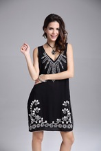 Embroidery Fashion Casual Black Women Dress Brand Quality Summer Style Tropical Vestido De Festa Summer Dress Femininas