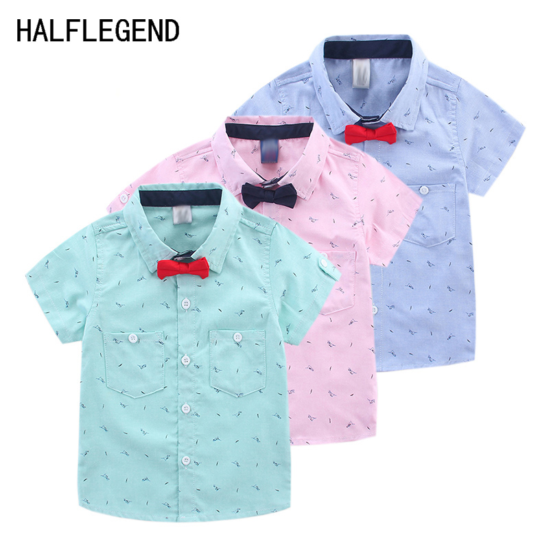 2018 Boys Shirt Kids Clothes Boys Children's Short-sleeved Shirt With bow tie fashion Clothing children Top Shirt for boys 2-8Y rhinestone i like bows white pettitop top shirt dusty pink bow pettiskirt dress set 1 8y mapsa0536