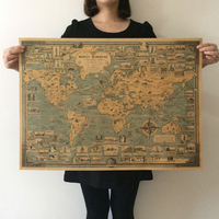 Free Ship Vintage World Great Building Map Kraft Paper Paint Retro Wall Sticker Poster Art Crafts