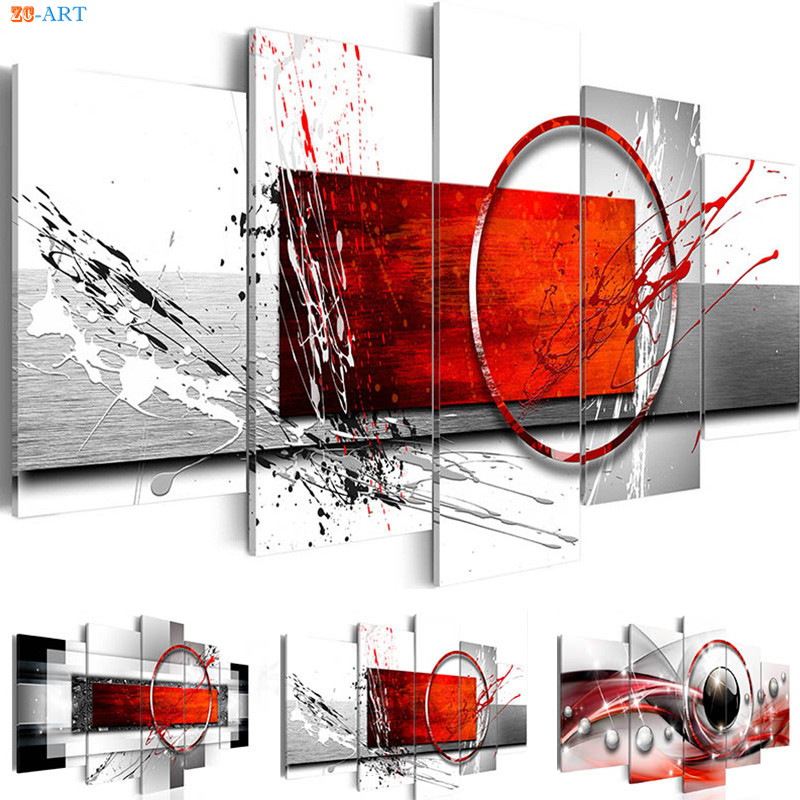 Canvas Art 5 Panel Abstract Painting Prints Poster Red Wall Art Modern Wall Pictures For Living Room Home Office Decor
