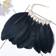 1 PC Unique Unisex Big Feather Ear Cuff Clip Earrings Non Piercing For Women Earless Hang Fashion Jewelry White Black