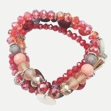 hangjing 3pcs/set new bohemian friendship charm femme couple crystal natural stone bead shell bracelets for women 2019 jewelry