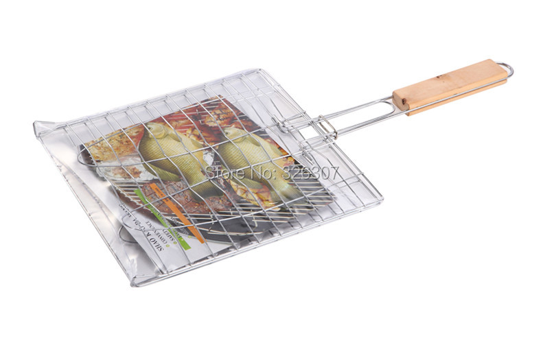 Barbecue net clamp grilled fish grilled fish net clip outdoor camping shelf meshes BBQ grill tools accessories party