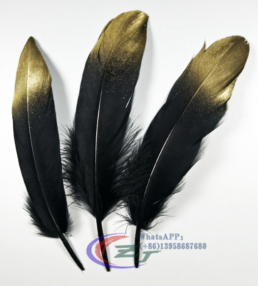 New Goose Feathers,100pcs/lot- Gold/Black Goose Loose feathers,goose craft feathers,13-18cm long,Free Shipping
