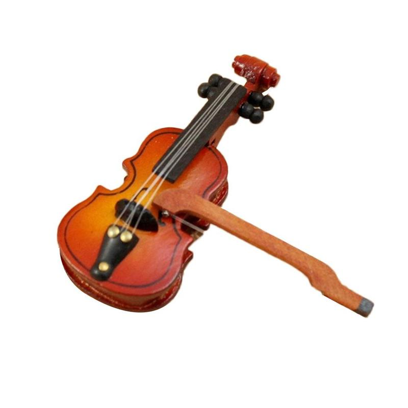 Mini Violin 1:12 Dollhouse Miniature Musical Instrument Wooden Violin Dollhouse Decoration Kids Children Toy Gift