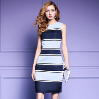 New Arrival 2017 Summer Brand Fashion Women Color Block Wide Striped Dress Ol Style Office Wear