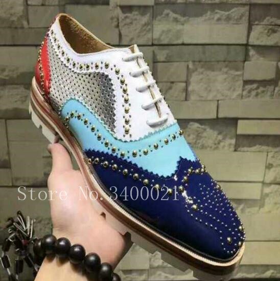 купить Mixed Colors Lace Up Patchwork Leather Casual Brogue Shoes 2019 Brand Rivets Studded Breathable Shoes Mens Large Size 38-46 по цене 6282.97 рублей