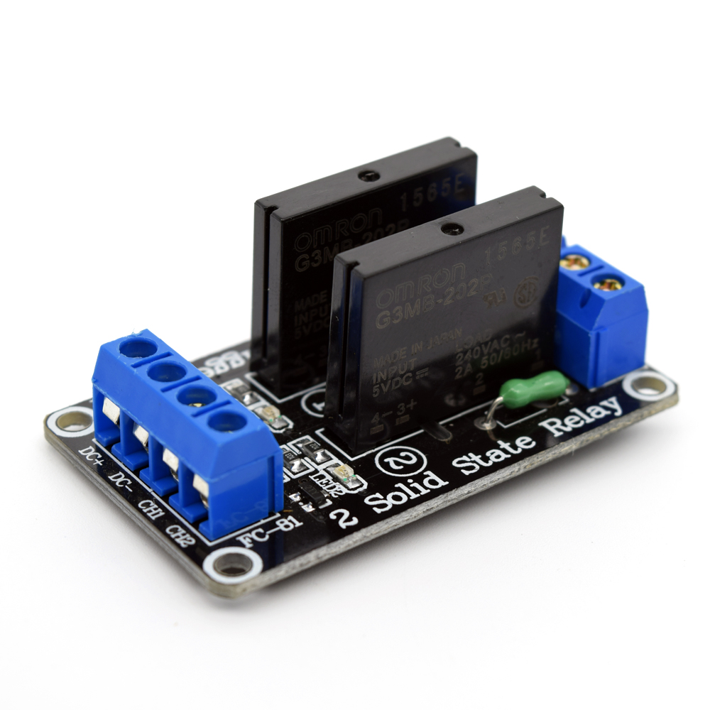 Adeept New 5V 2 Channel Solid State Relay Board for Arduino Raspberry Pi 8051 AVR DSP Freeshipping diy diykit
