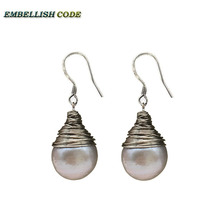 handmade grey pearls silver plated hook dangle earring baroque pearl fire ball stely tear drop shape with for Lady