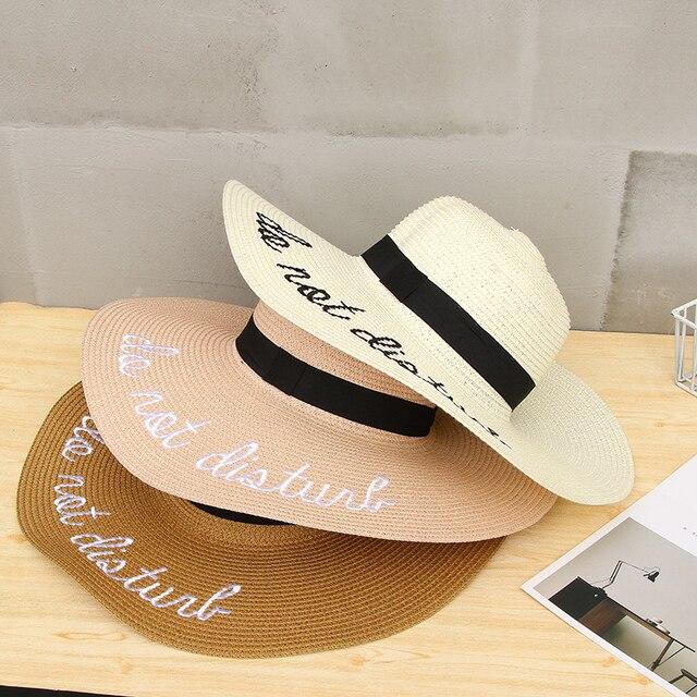 cae2eaf4 2019 Fashion Summer Women Sun Hat Ladies Wide Brim Straw Hats Outdoor  Foldable Beach Panama Hats Church Hat Bone Chapeu Feminino