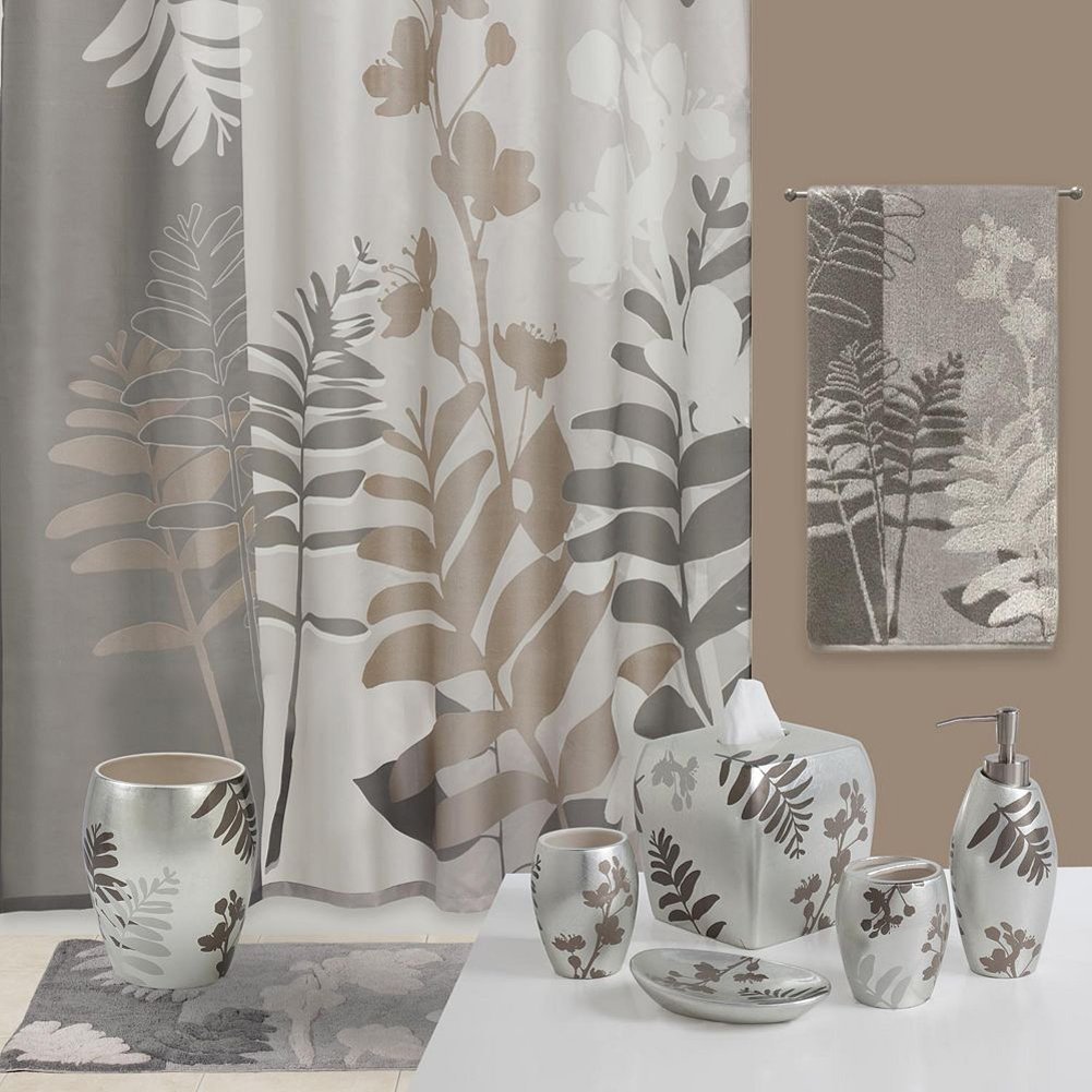 Olivia Grey Shower Curtain,Flower,Plants for Bathroom,Floral