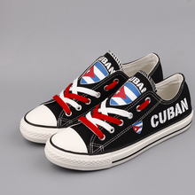 E-LOV Unique Design Cuba National Flag Printed Canvas Shoes Cuban Nation Customized Flat Walking Shoes Low Top Espadrilles(China)