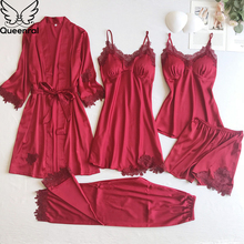 Queenral 5pcs Women's Pijama Silk Pajama Set Pyjamas Sexy Lace Nightie Sleepwear Autumn Home Clothes