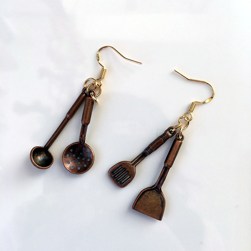 Handmade Cute Simulation Pan Shovel Spoon Earrings 2018 Female Creative Funny New Jewelry Prom Party Personality Accessories earrings