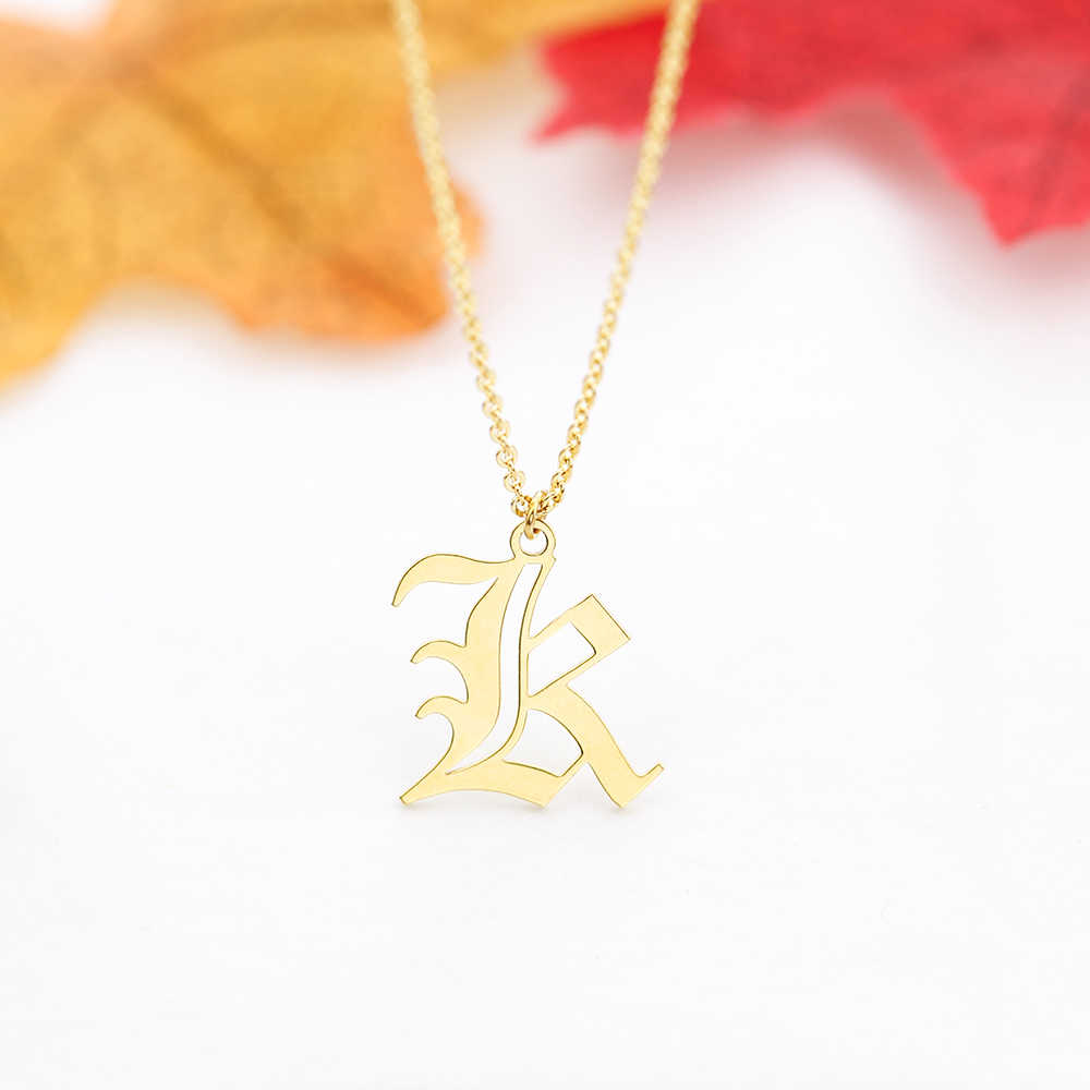 Gothic Custom Single Old English Initial Number Pendant Necklace Personalized Letter Charm Name Jewelry Xmas Gift Women Men Kids
