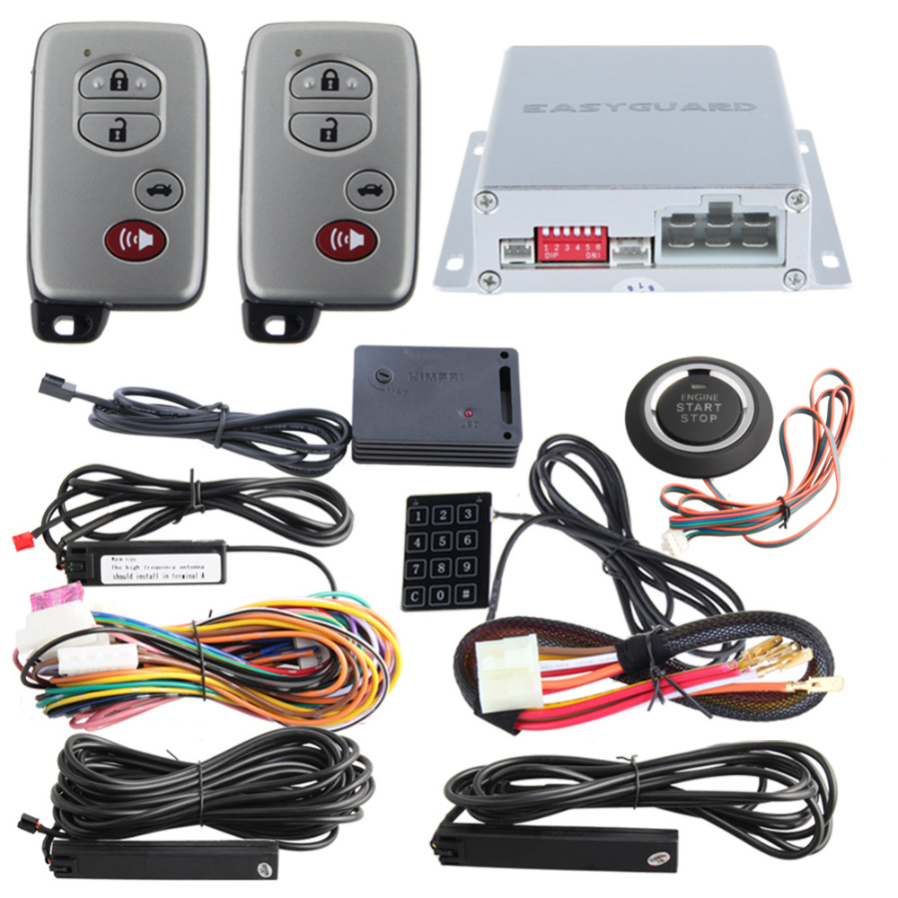 EASYGUARD PKE car alarm Rolling code remote engine start keyless go system touch password entry shock alarm warning DC12V easyguard pke car alarm system remote engine start stop shock sensor push button start stop window rise up automatically