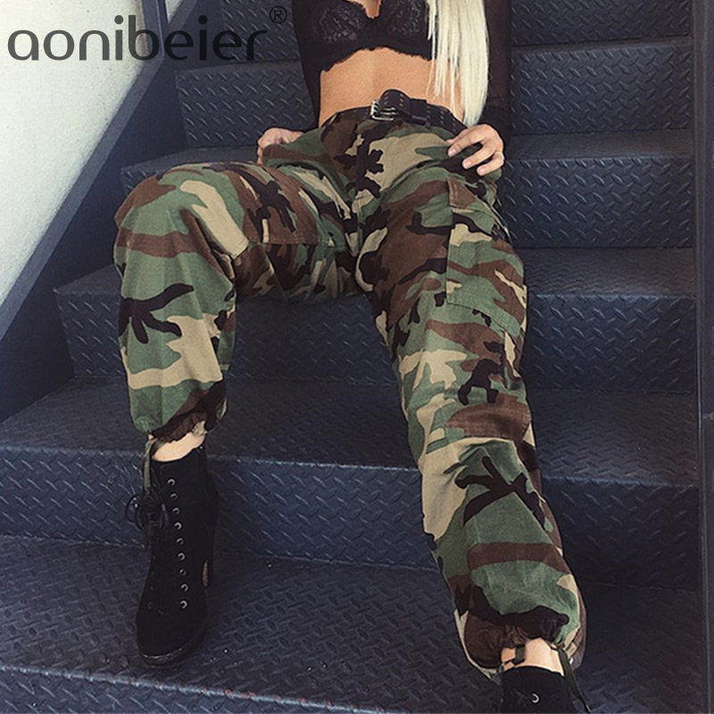 Aonibeier Army Green Camo Pants for Women Camouflage Casual Trousers Harem Pant High Waist Hip Hop Sweatpants Pantalon Mujer