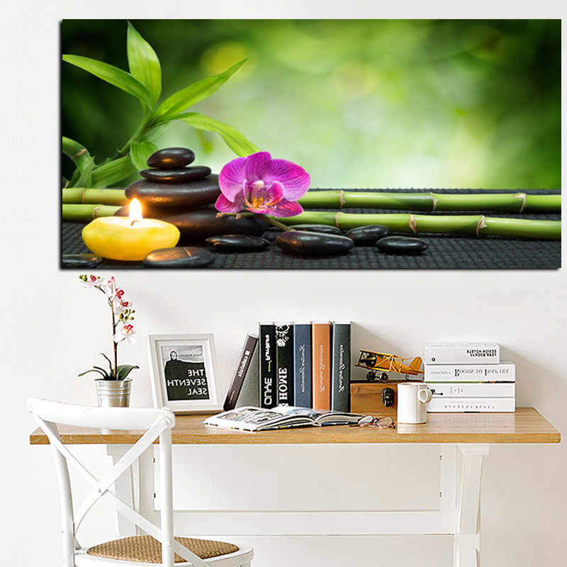 HD Print Modern Orchid Zen Spa Stone Bamboo Candls Oil Painting on Canvas Art Poster Wall Art Picture for Living Room Cuadros (2)