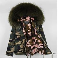 Women 2017 Winter Large Fur Collar Army Camouflage Coat Alfred Female Warm Jackets Coats Plus Size