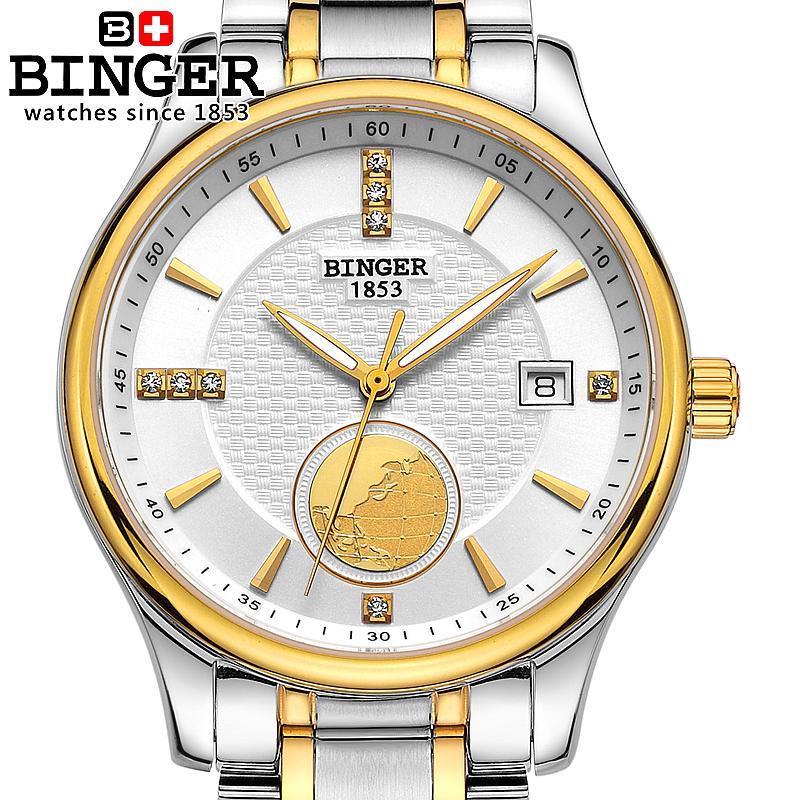 Suisse montres hommes marque de luxe montres BINGER automatique auto-vent plongeur lumineux pleine montre en acier inoxydable BG-0409-f