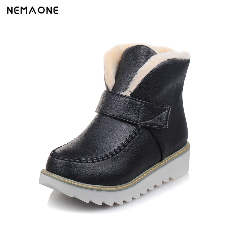 NEMAONE 2018 New Women Boots Solid Slip-On Soft Cute Women Snow Boots Round Toe Flat with Winter Fur Ankle Boots size 34-44 doratasia big size 34 43 women half knee high boots vintage flat heels warm winter fur shoes round toe platform snow boots