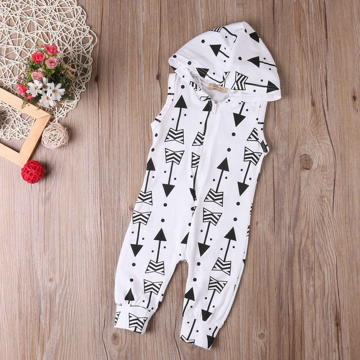 28b56ed88 ... Infant Baby Boy Kid Clothing Hooded Sleeveless Romper Arrow Cute Zipper  Jumpsuit Outfits Baby Boys Clothes