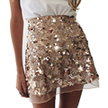 Sequined Gold Mesh Sexy Women Skirts Saia Cute A-Line Skirts High Waist Summer Women's Skirt Elegant Plus Size Women Clothing