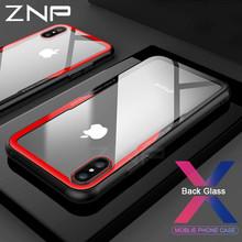 ZNP Luxe Telefoon Bag anti-kras Transparante Terug Gevallen Voor iPhone X 10 Case Glas + TPU Voor iPhone X 10 Case Protector Shell(China)