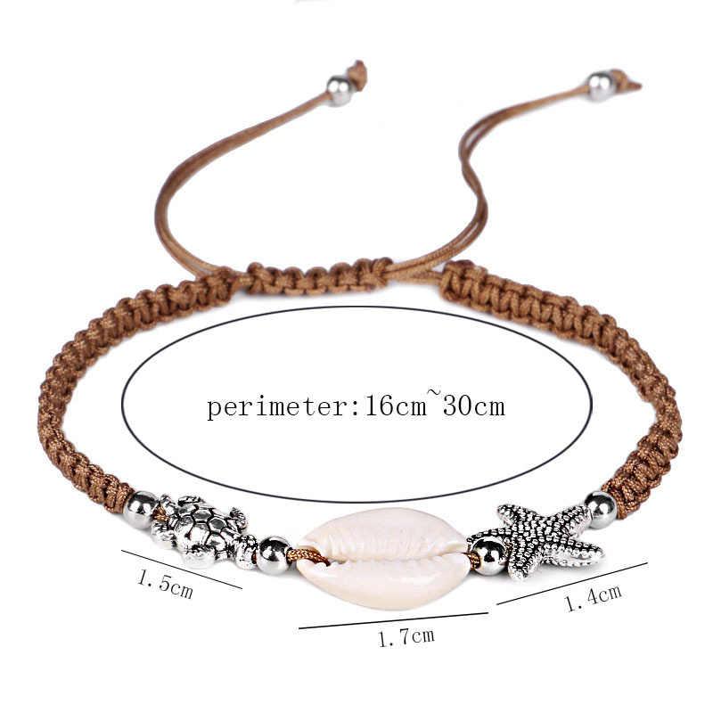 夏浜調節可能なブレスレットシェル巻き貝ヒトデデザインボヘミアンブレスレットチェーン女性女の子ゴールドシルバー女性のジュエリー
