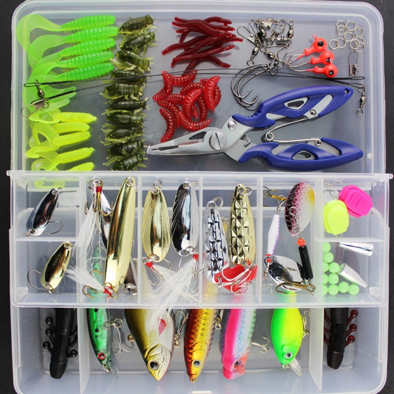 101 pcs/Box Lures Fishing Accessories Tackle Box with Complete Fishing Lure Fishhooks Wire Connector Beads Ring Pliers Tools Set top quality fishing tackle box plastic handle fish box carp fishing lure tool fishing accessories case