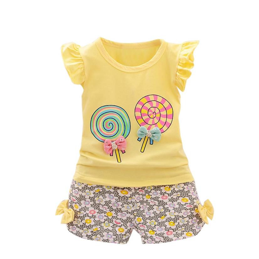 2PCS Toddler Kids Baby Girls Outfits Lolly T-shirt Tops+Short Pants Clothes Set Conjuntos Para Menino #Y104 newborn toddler girls summer t shirt skirt clothing set kids baby girl denim tops shirt tutu skirts party 3pcs outfits set
