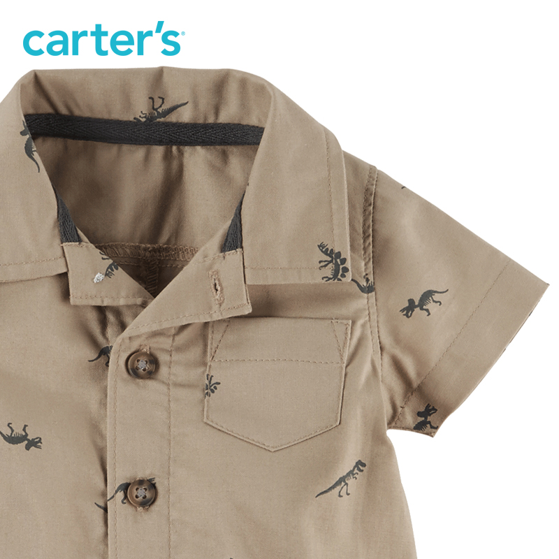 c6a9965fb99d 1pcs handsome dinosaur print Cotton Polo Romper Carter s baby boy ...