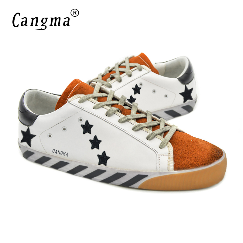 CANGMA Italy Deluxe Brand Ladies Shoes Popular Genuine Leather Superstar Women Casual White Stella Shoes Zapatillas Blancas 2017 cangma original italy deluxe brand men golden shoes women handmade silver genuine leather goose shoes scarpa stella sapato 2017