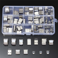 82Pcs 14 Styles USB Male USB Female Mini USB SMD Vertical Socket Connector For DIY Jack