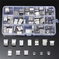 82Pcs 14 Styles USB Male USB Female Mini USB SMD Vertical Socket Connector For DIY Jack