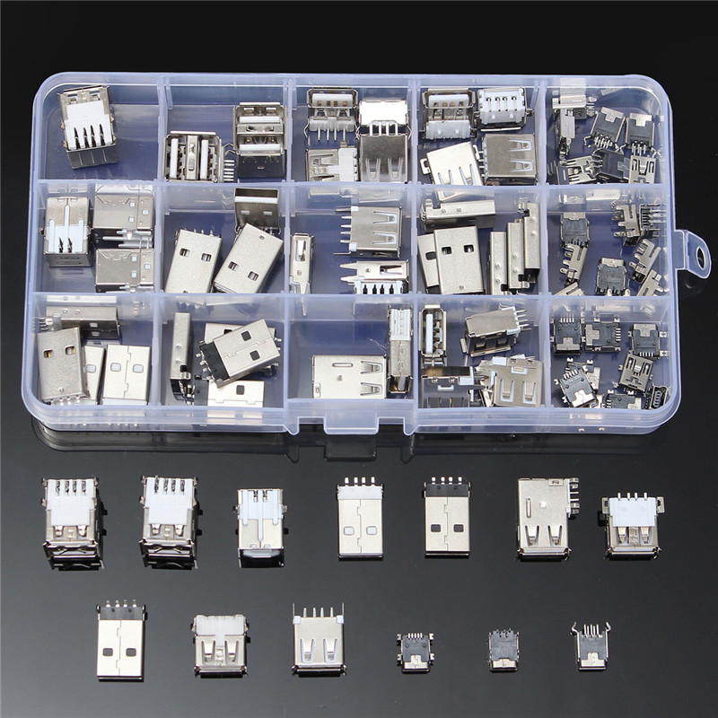 82Pcs 14 Styles USB Male USB Female Mini USB SMD Vertical Socket Connector for DIY Jack Connector Port Charging Data Plug 10pcs g55 usb 2 0 4pin a type female socket connector curly mouth bent foot for data transmission charging sell at a loss usa