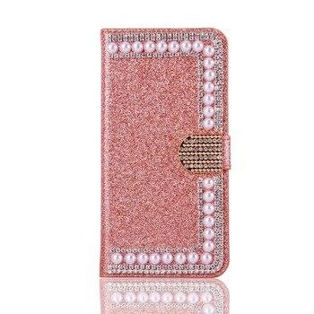 Funda de cuero de lujo con diamantes de imitación y Perla para HuaweiP9 P20 P30 Lite Mate10 20 honor Capa