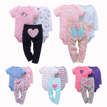 Fashion Baby Girl Clothes Baby Girls Rompers 3pcs Rompers Pants Cartoon Cotton Infant Clothing Set Baby Outfits Jumpsuit Bebe cheap YUANTENG Casual O-Neck Sets Covered Button Full REGULAR Fits true to size take your normal size Broadcloth Coat bebek giyim