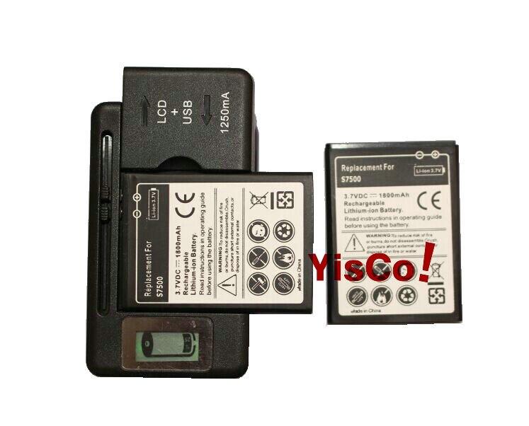 imágenes para Cisoar 2x1800 mah eb464358vu batería + cargador lcd para samsung galaxy y s6102 mini 2 s6500 s6802 galaxy ace plus s7500 s7508
