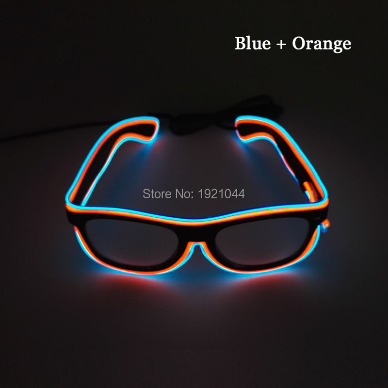NEW Style 100pcs Flashing EL wire Led Glasses Neon GLowing Glasses Lighting Colorful Glowing Gifts For Party Decoration