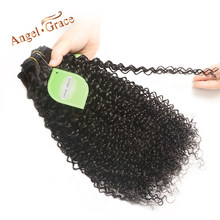 Angel Grace Hair Brazilian Kinky Curly Hair Weave Bundles 1/3/4 pcs lot 100% Remy Human Hair Weave Bundles 100g/pc Free Shipping(China)
