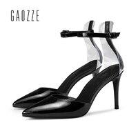 Черные кожаные пикантные женские туфли на очень высоком каблуке шпильке 8.5 см Женская обувь на праздник острый носок Ремешок на щиколотке м