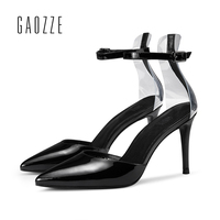 Black Leather Womens Sexy Shoes Super Stiletto High Heels 8.5cm Party Shoes Pumps Pointed Toe Ankle Strap Fashion Sandals Office