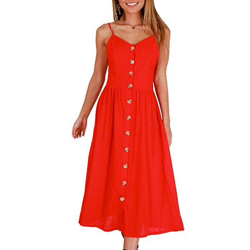 Casual Vintage Sundress Women Summer Dress 2019 Boho Sexy Dress Midi Button Backless Polka Dot Striped Floral Beach Dress Female 4
